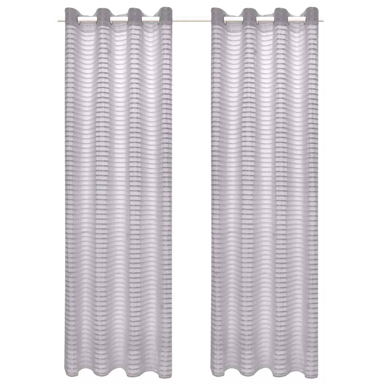 vidaXL Glasgordijnen geweven gestreept 140x175 cm grijs 2 st