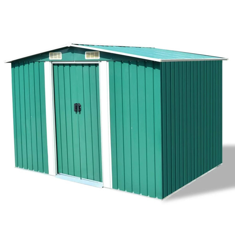 vidaXL Tuinhuis 257x205x178 cm metaal groen