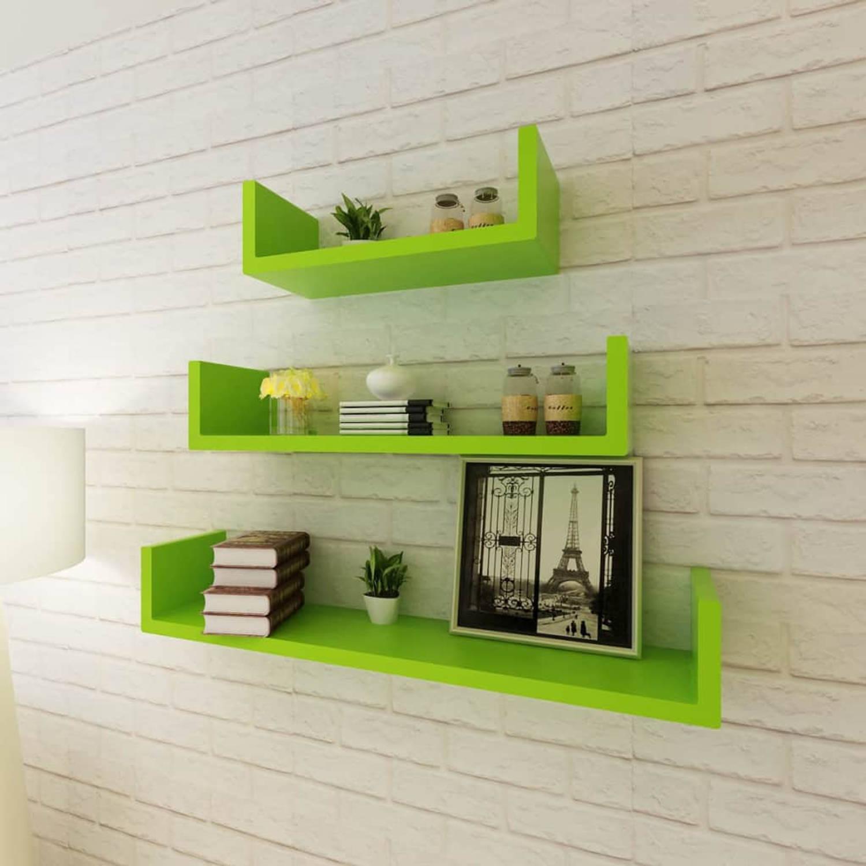 Wandplanken U-vormig MDF zwevend voor boeken/dvd 3 st groen
