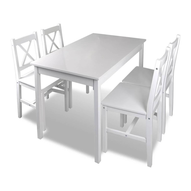Houten eettafel met 4 stoelen (wit)