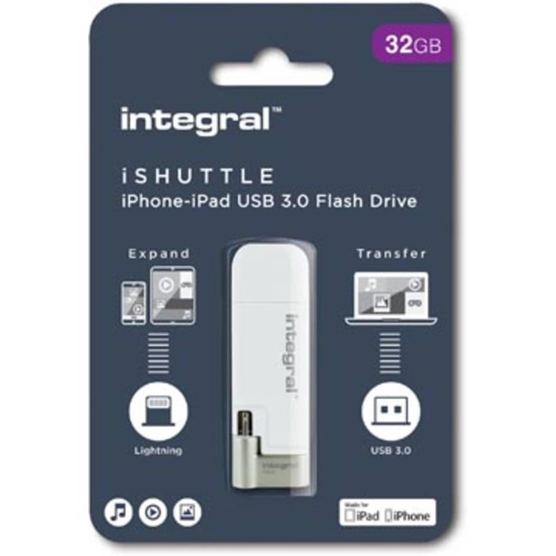 Integral iShuttle USB 3.0 stick, 32 GB, wit