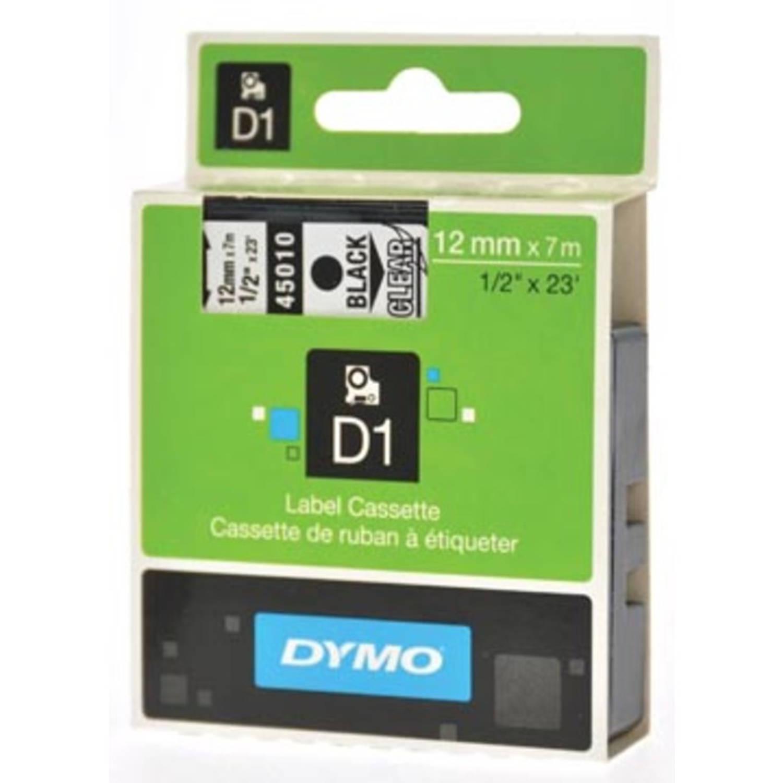 Dymo D1 tape 12 mm, zwart op transparant