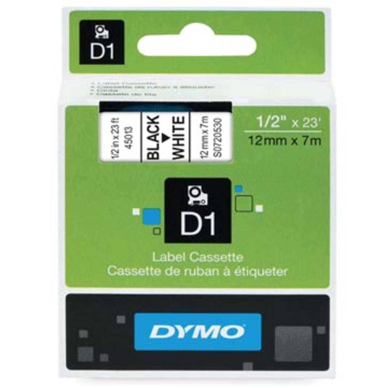 Dymo D1 tape 12 mm, zwart op wit