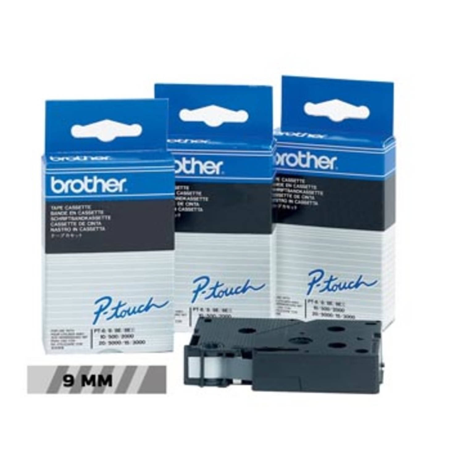 Brother TC tape voor P-Touch 9 mm, zwart op transparant