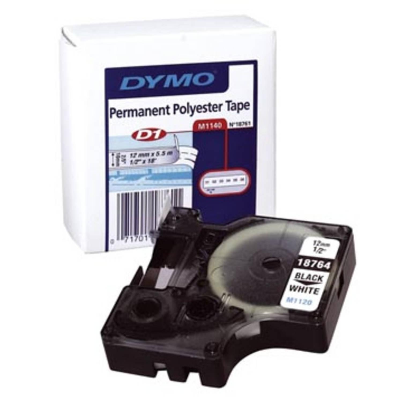 Dymo D1 permanente polyestertape 12 mm, zwart op wit