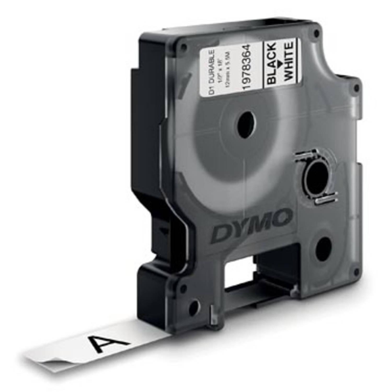 Dymo duurzame D1 tape 12 mm x 5 m, zwart op wit