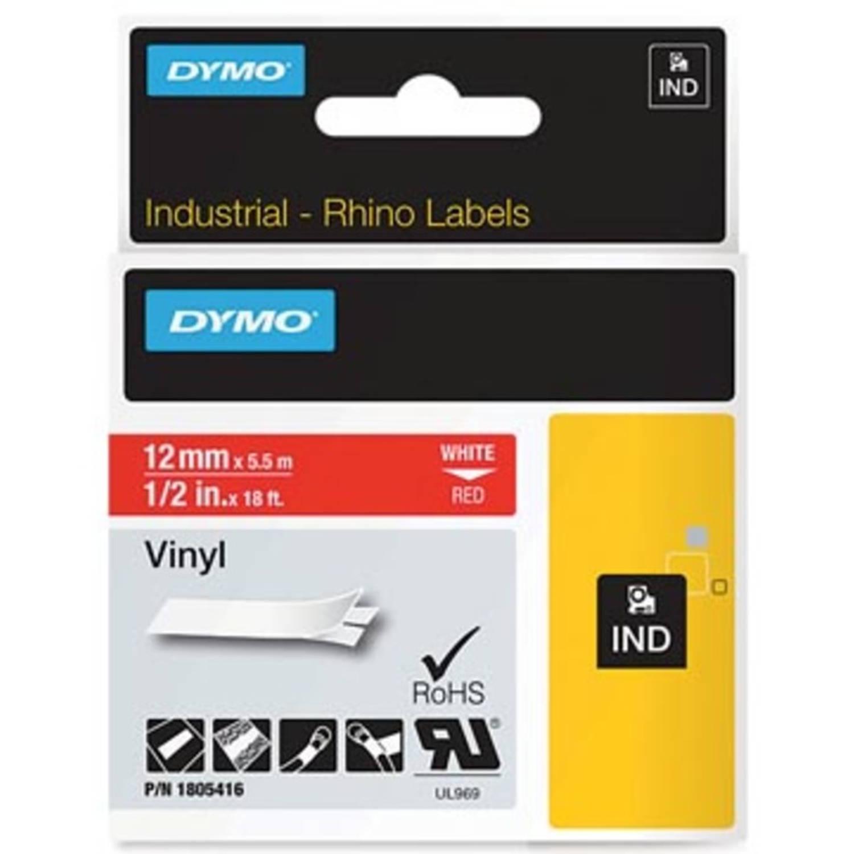 Dymo RHINO vinyltape 12 mm, wit op rood