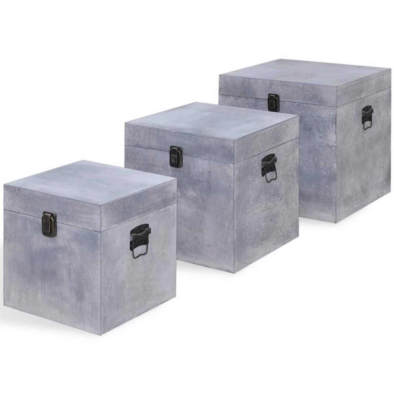 vidaXL 3 kubusvormige opbergkisten MDF betongrijs