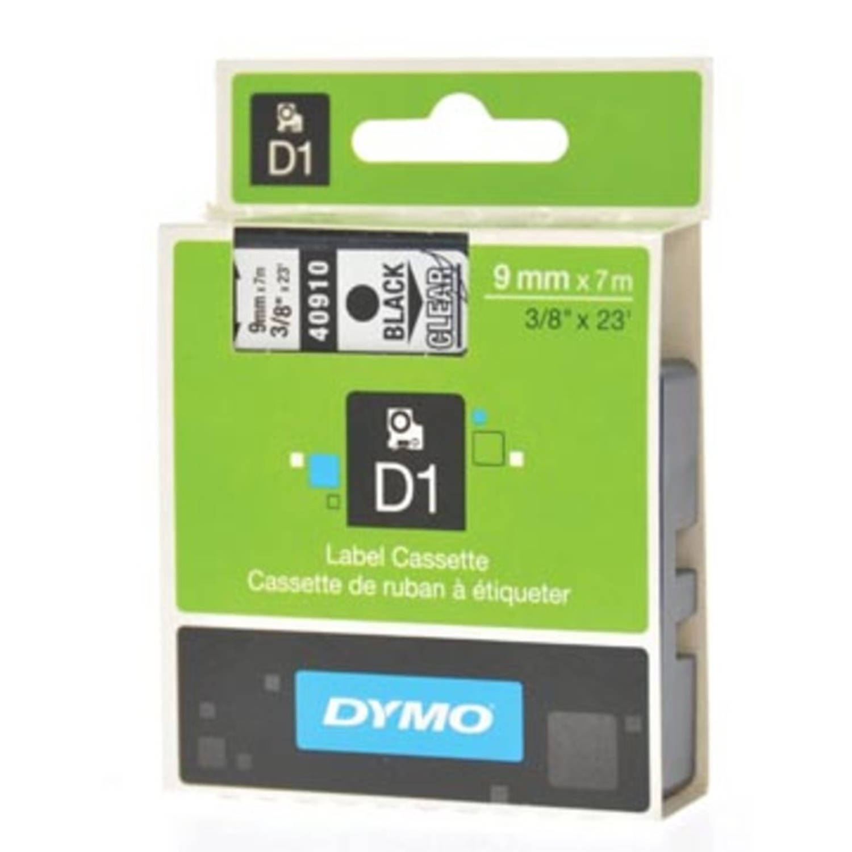 Dymo D1 tape 9 mm, zwart op transparant