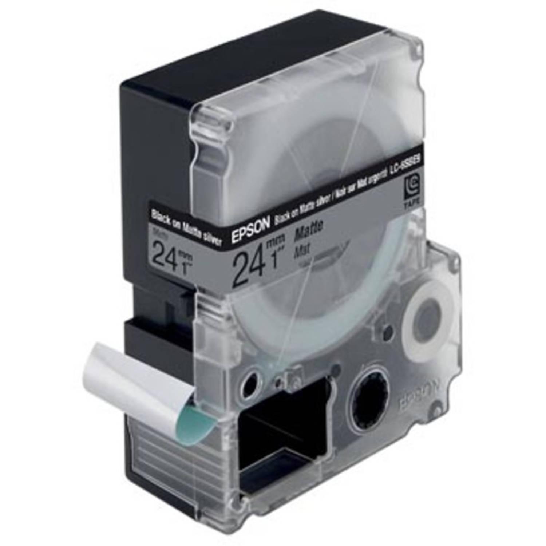 Epson tape 24 mm, zwart op mat zilver