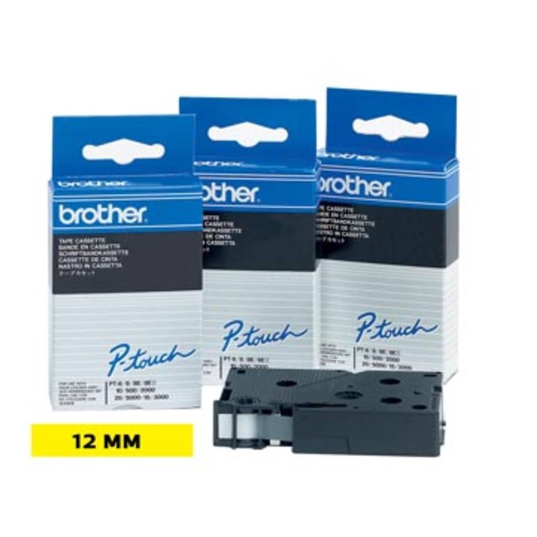 Brother TC tape voor P-Touch 12 mm, zwart op geel