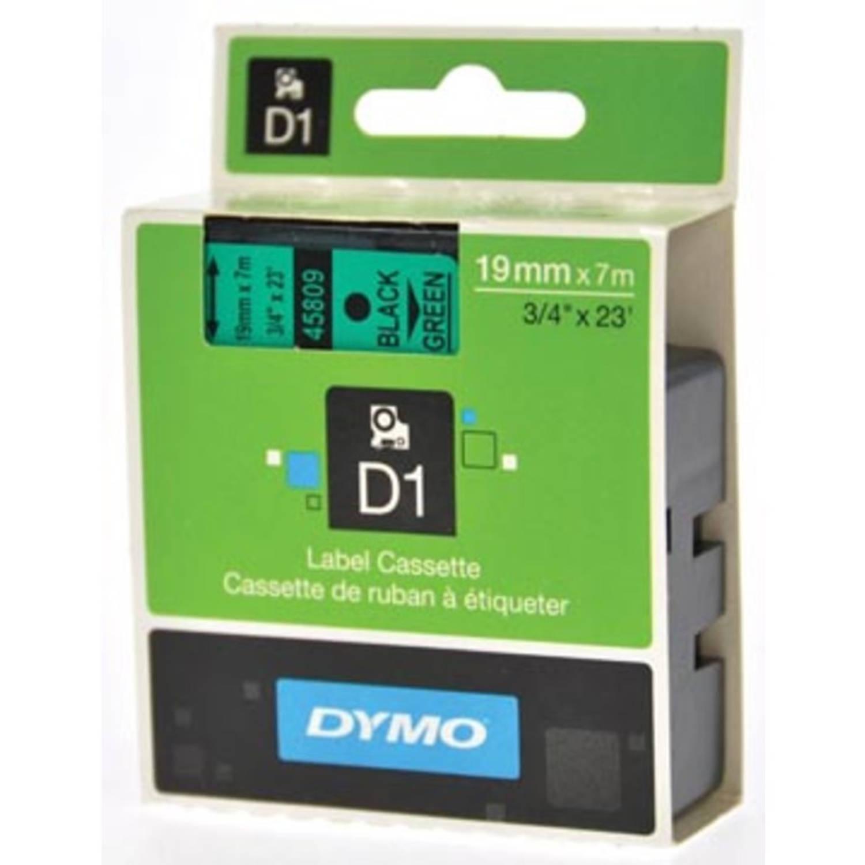 Dymo D1 tape 19 mm, zwart op groen