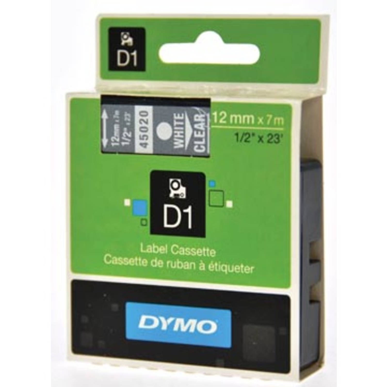 Dymo D1 tape 12 mm, wit op transparant