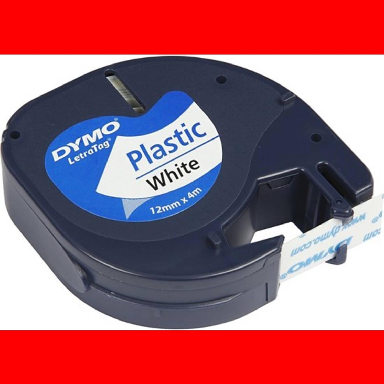 Plastic Tape, b: 12 mm, l: 4 m, 4 m, wit
