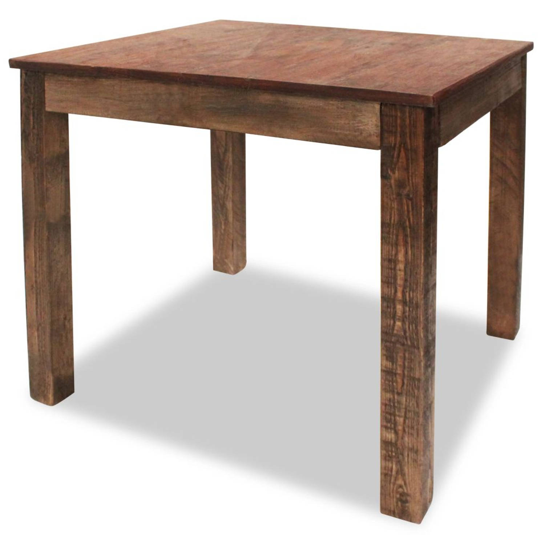 vidaXL Eetkamertafel 82x80x76 cm massief gerecycled hout
