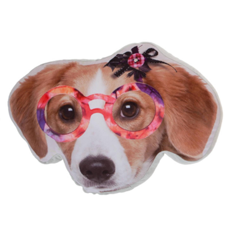 Kamparo kussen hondenkop oranje bril 37 cm bruin