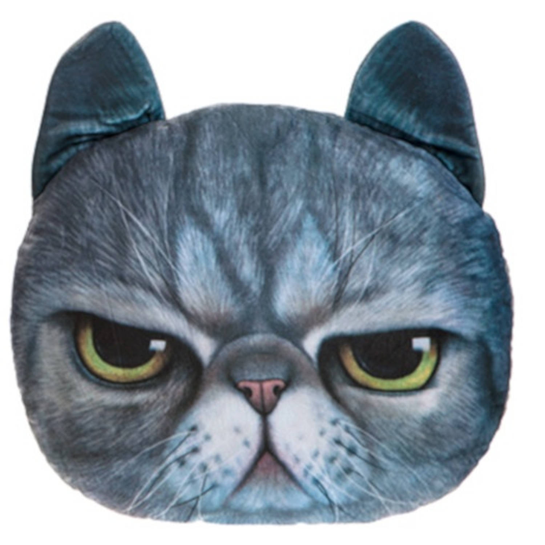 Kamparo kussen kattenkop 37 cm blauw
