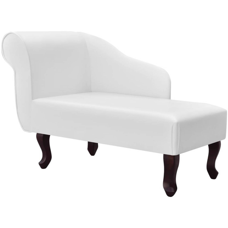 vidaXL Chaise longue kunstleer wit
