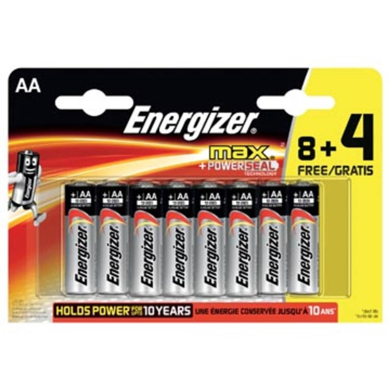 Energizer batterijen Max AA, blister van 8 stuks + 4 stuks gratis