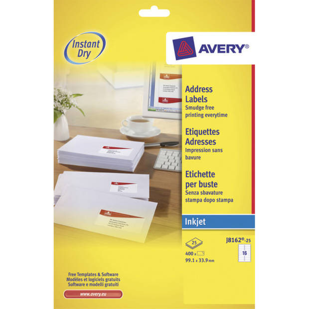 inkjetetiket Avery 99,1x33,9mm wit 25 vel 16 etiketten per vel
