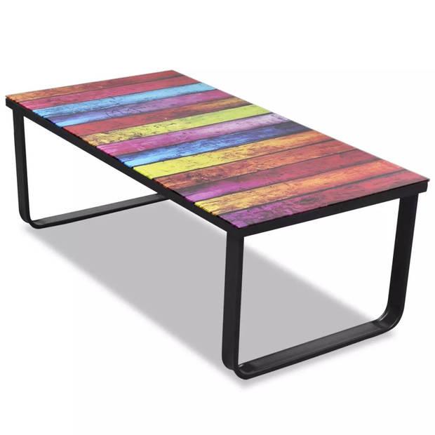 vidaXL Salontafel met regenboog-print glazen tafelblad