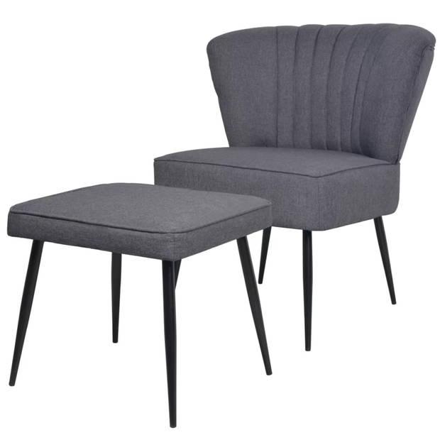 vidaXL Cocktail stoel met voetenbank stof donkergrijs