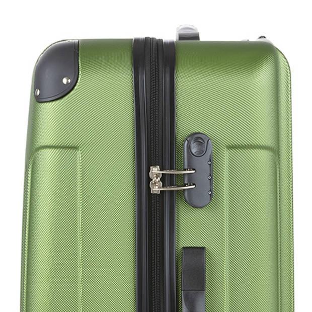TravelZ - Lichtgewicht ABS koffer - Reiskoffer Trolley 76cm - Gevoerde binnenkant - Khaki