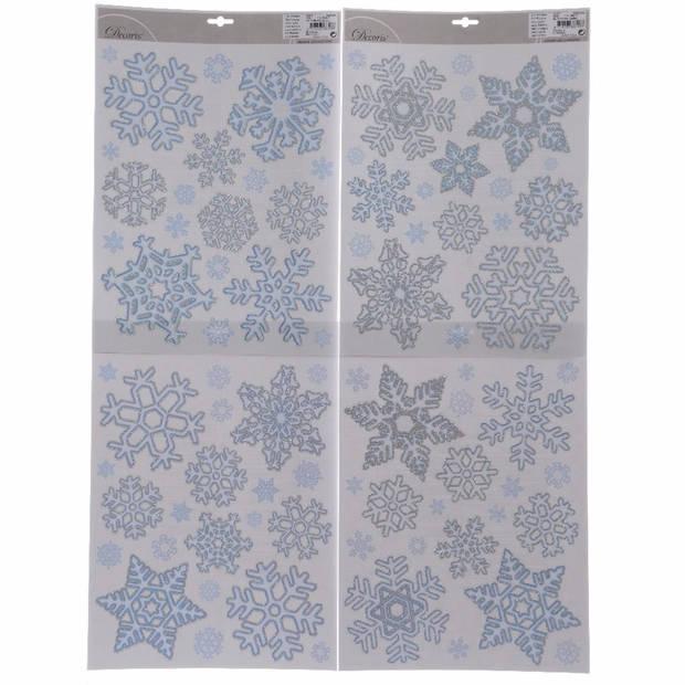 4x Sneeuwvlokken raamsticker / kerst raamdecoratie - 30 x 46 cm