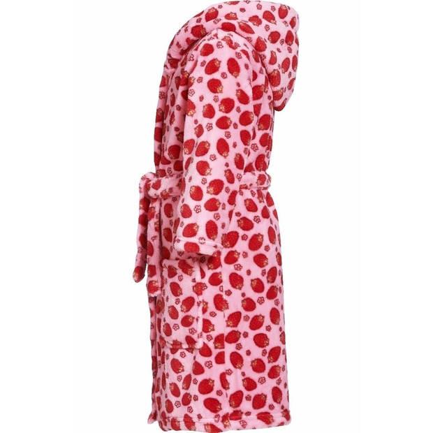 Roze badjas/ochtendjas met aardbeien print voor kinderen. 110/116 (5-6 jr)
