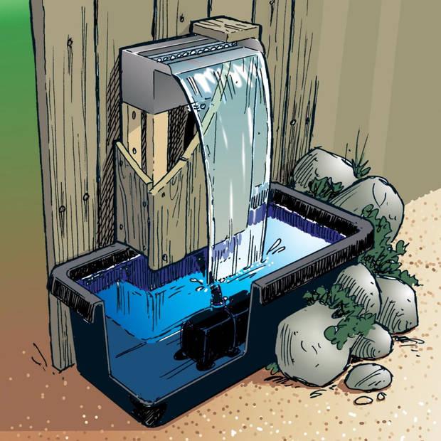 Ubbink Niagara Balk / Waterval RVS + LED verlichting 30cm Incl. Pomp