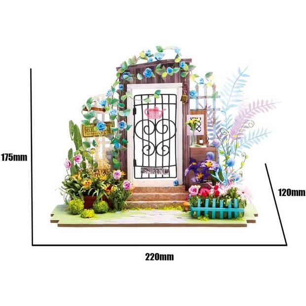 Robotime Tuin Ingang DGM02 - Houten modelbouw - Mini Poppenhuis met LED licht - DIY