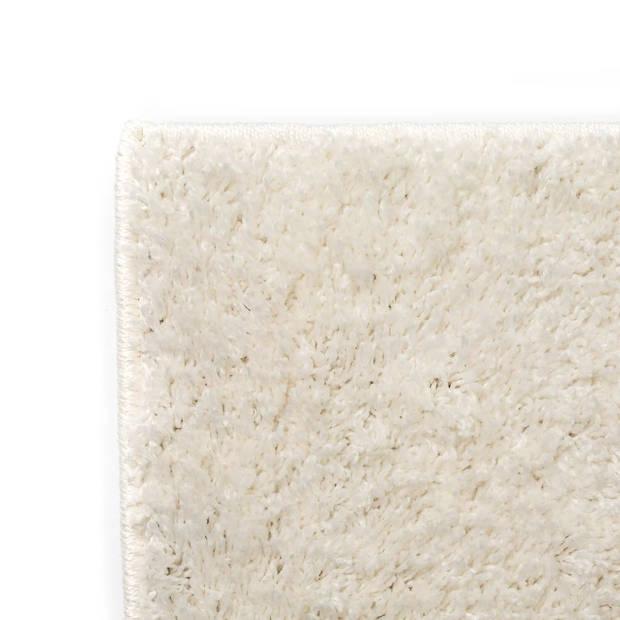 vidaXL Vloerkleed shaggy hoogpolig 80x150 cm crèmekleurig