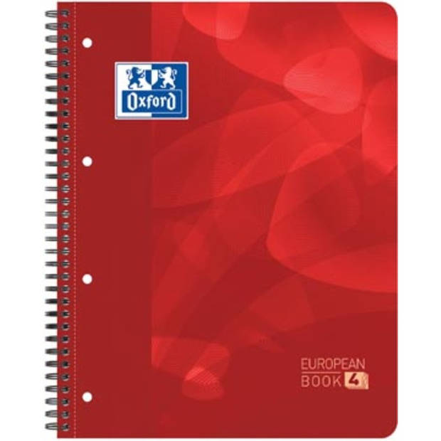 Oxford projectbook, ft A4+, geruit 5 mm, 4 gaatsperforatie, 120 vel, rood
