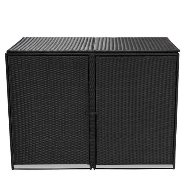 vidaXL Containerberging dubbel 148x80x111 cm poly rattan zwart