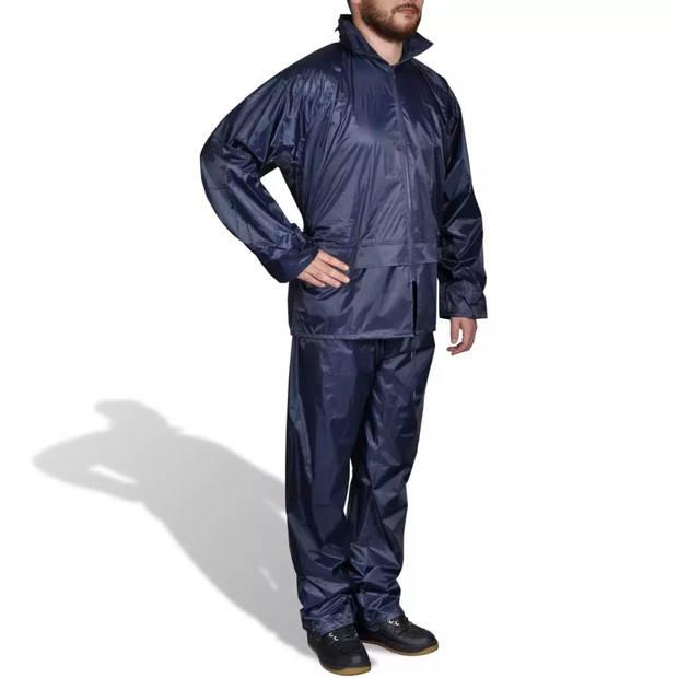 Regenpak 2-delig met capuchon (heren / marineblauw / maat M)