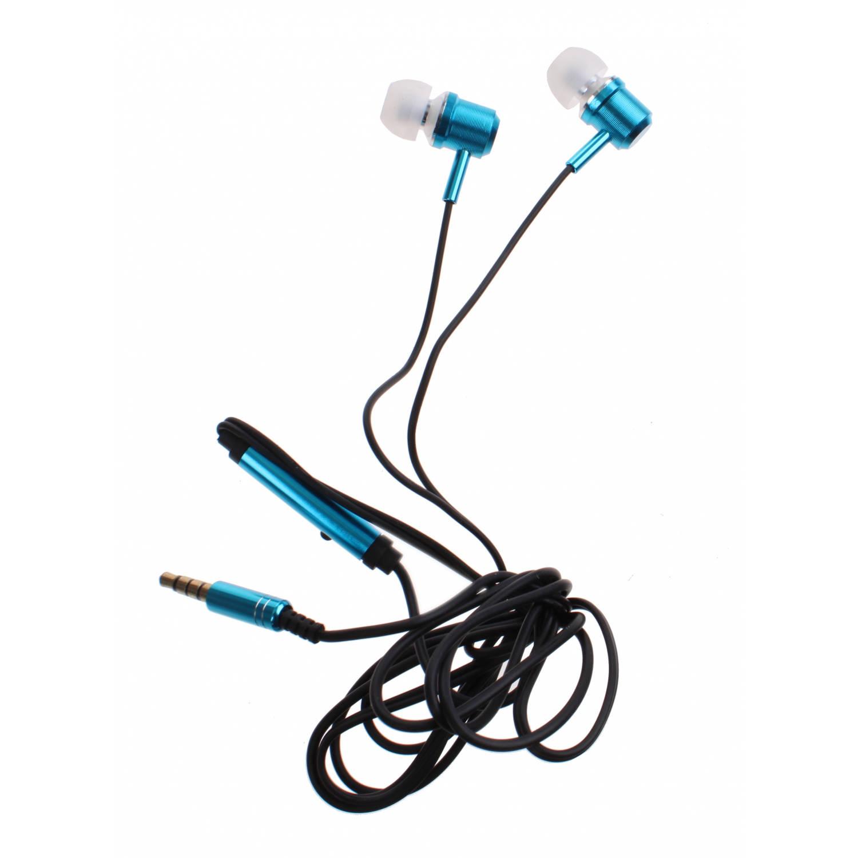 Kamparo in-ear oordopjes met microfoon blauw