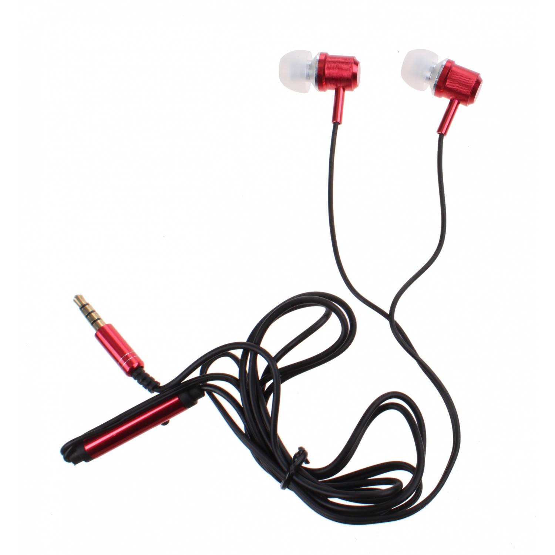 Kamparo in-ear oordopjes met microfoon rood
