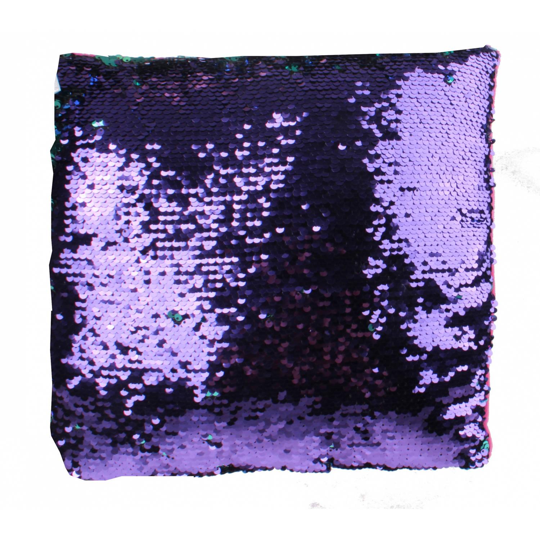 LG-Imports kussen met pailletten 29 cm roze-blauw-paars