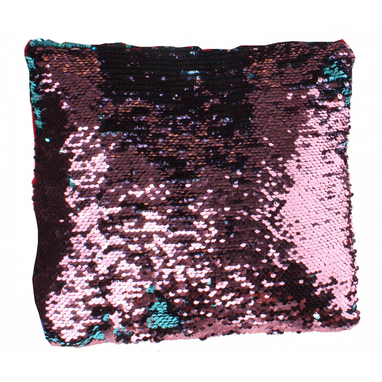 LG-Imports kussen met pailletten 29 cm rood-blauw-roze
