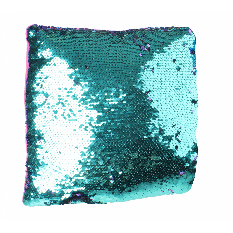 LG-Imports kussen met pailletten 29 cm roze-blauw-roze