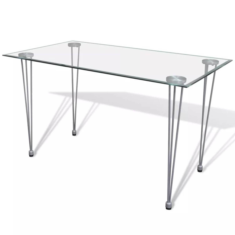 Eetkamertafel met blad van transparant glas