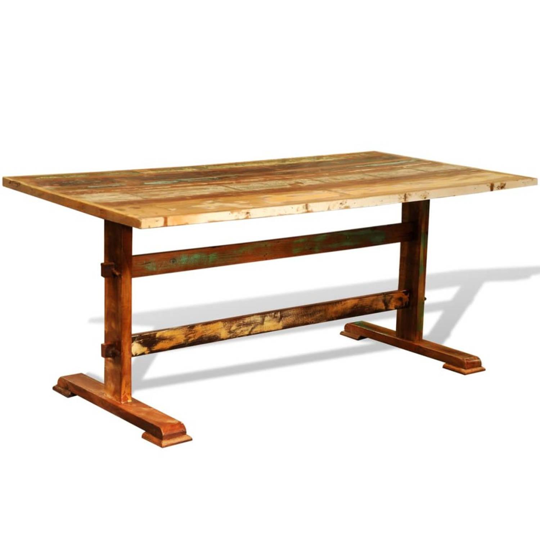 Eetkamertafel in antiek look van gerecycled hout