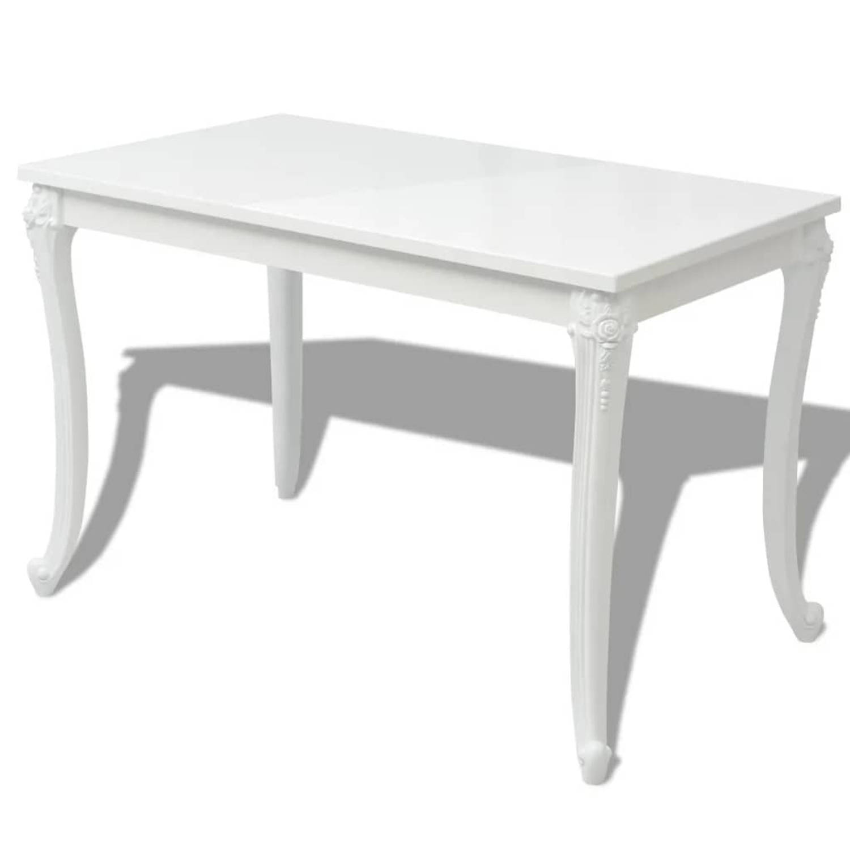 vidaXL Eetkamertafel hoogglans wit 120x70x76 cm