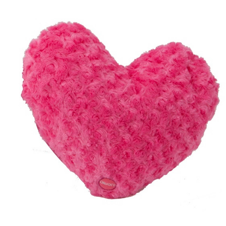 Kamparo kussen hart pluchen roze 23 cm