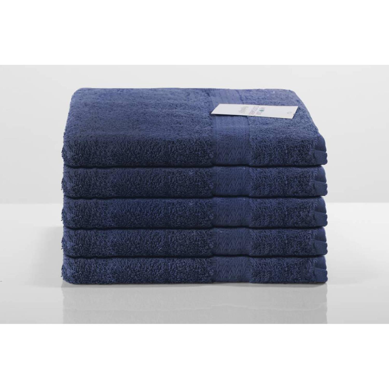 Nightlife Sneldrogende handdoek - Donker blauw - Katoen - 5-pak - 50x100 cm