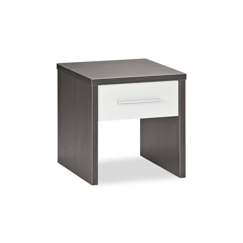 Beter Bed Basic nachtkast Woody - Spaanplaat melamine - Donkergrijs/aluminium