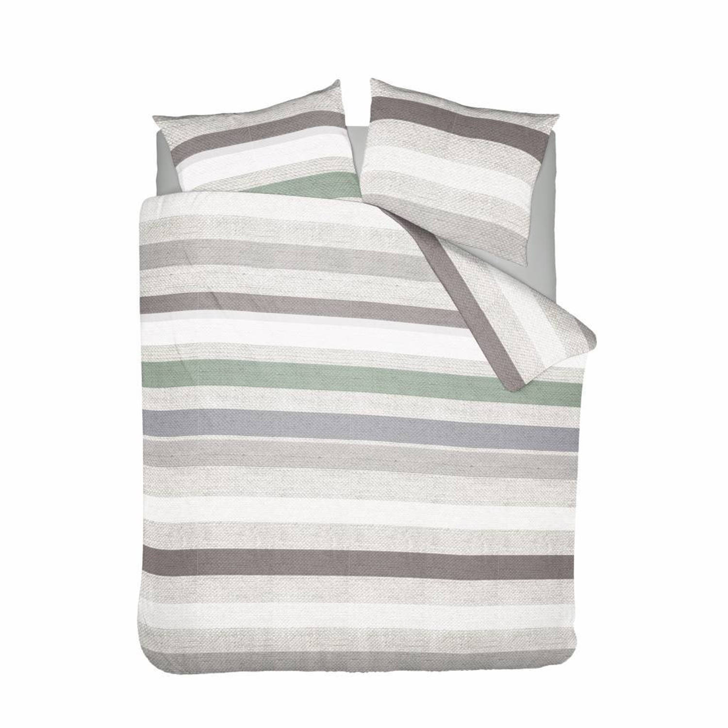 Nightlife Dekbedovertrek Pastel Stripe Groen - 240x220/220