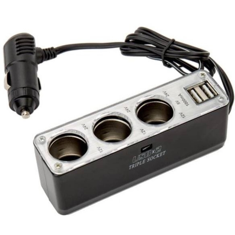 Lifetime Cars 3-weg splitter 12/24 Volt met twee USB-poorten