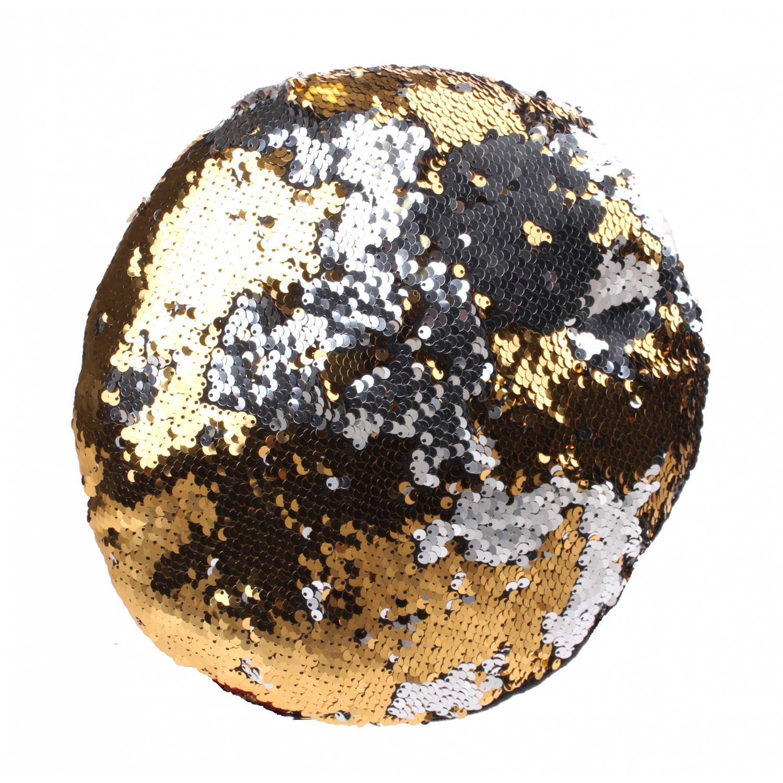 Kamparo kussen met pailletten 28 cm goud/zilver