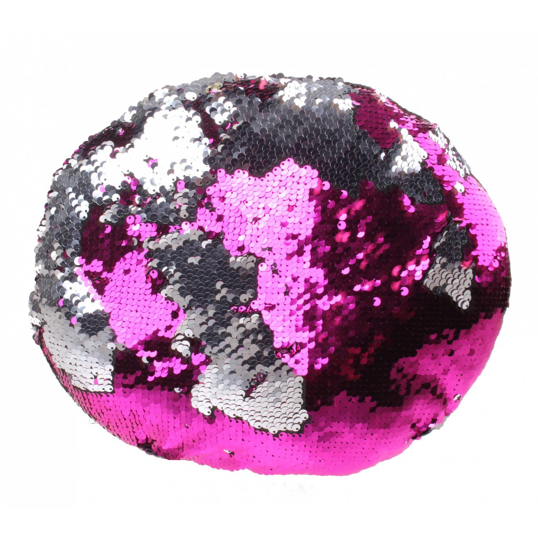 Kamparo kussen met pailletten 28 cm roze/zilver